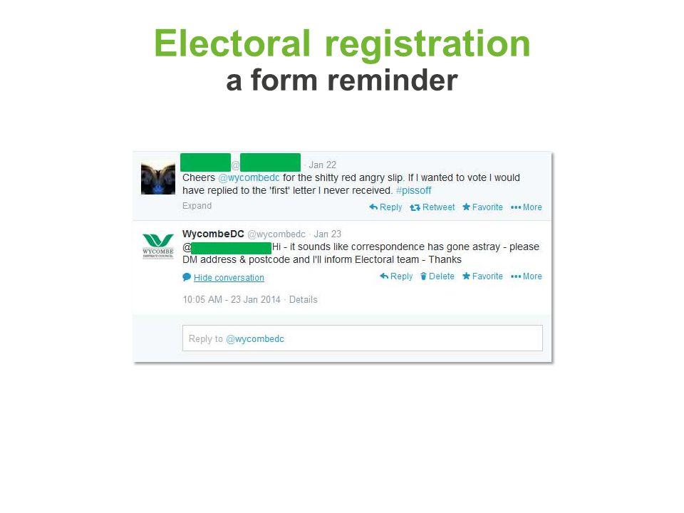 Electoral registration a form reminder