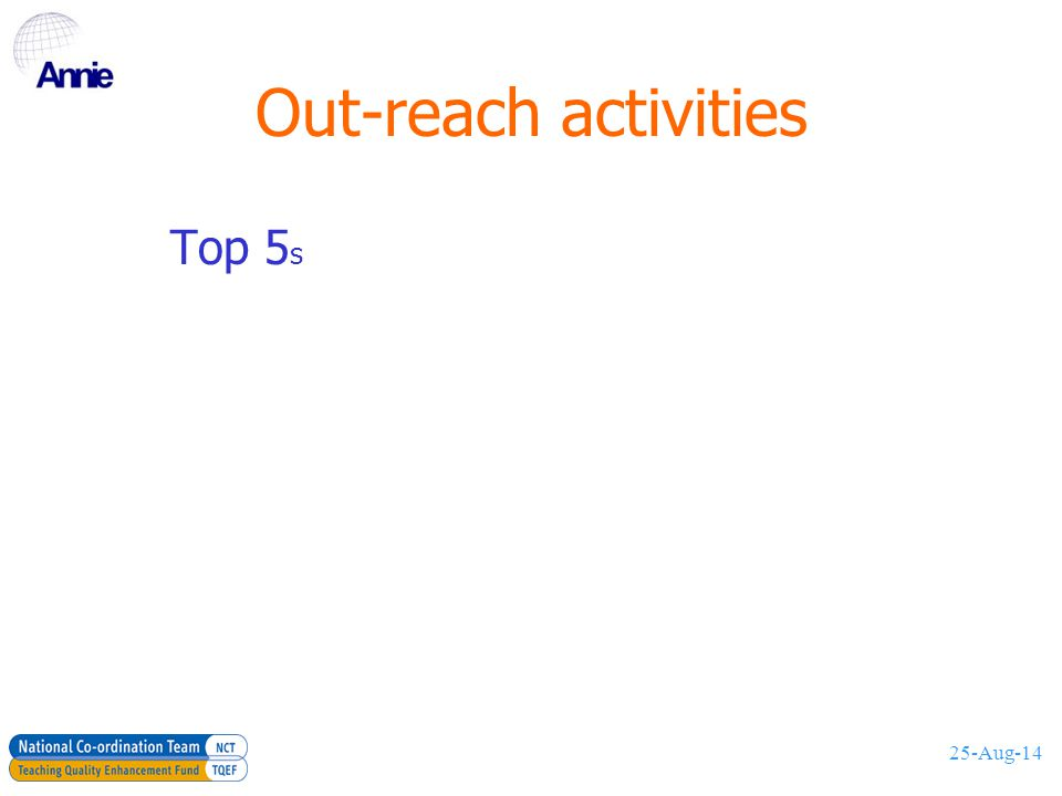 25-Aug-14 Out-reach activities Top 5 s