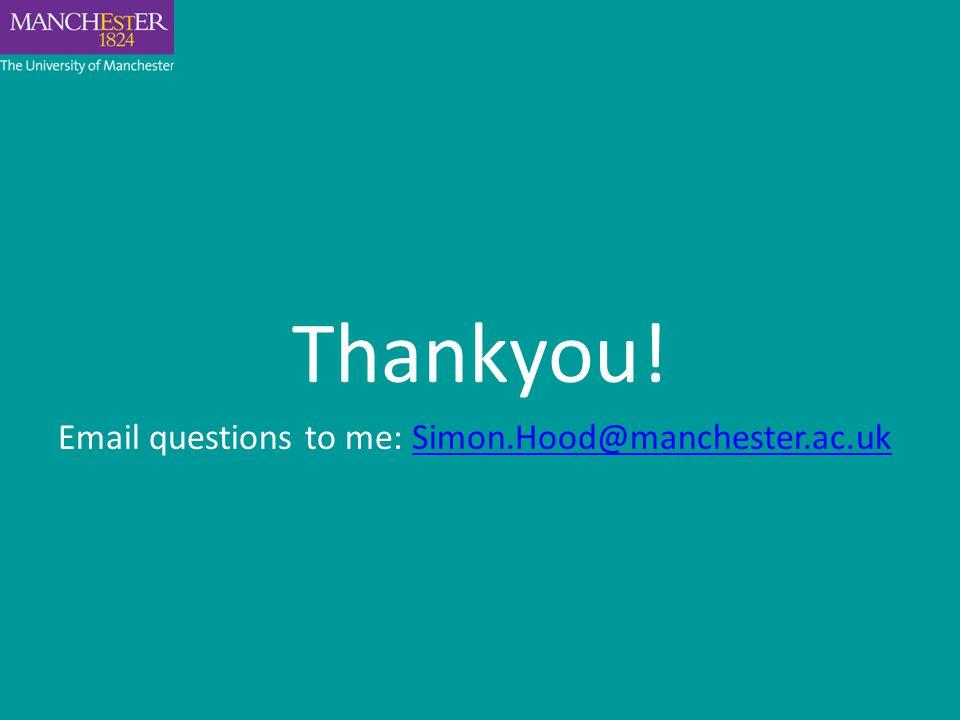 Thankyou! Email questions to me: Simon.Hood@manchester.ac.ukSimon.Hood@manchester.ac.uk