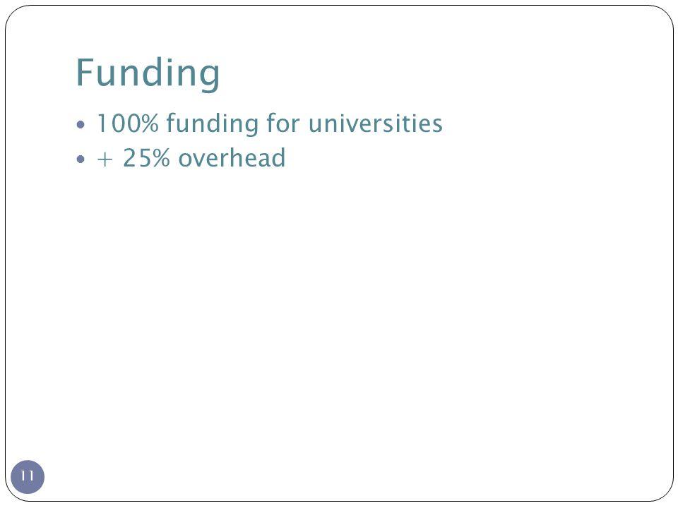 Funding 11 100% funding for universities + 25% overhead