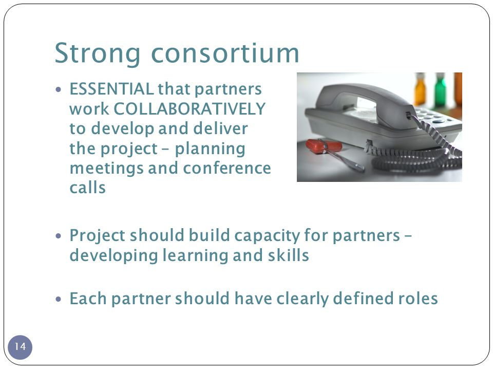 Strong consortium ESSENTIAL that partners work COLLABORATIVELY to develop and deliver the project – planning meetings and conference calls Project should build capacity for partners – developing learning and skills Each partner should have clearly defined roles 14