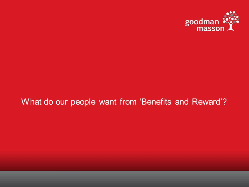 What do our people want from 'Benefits and Reward'