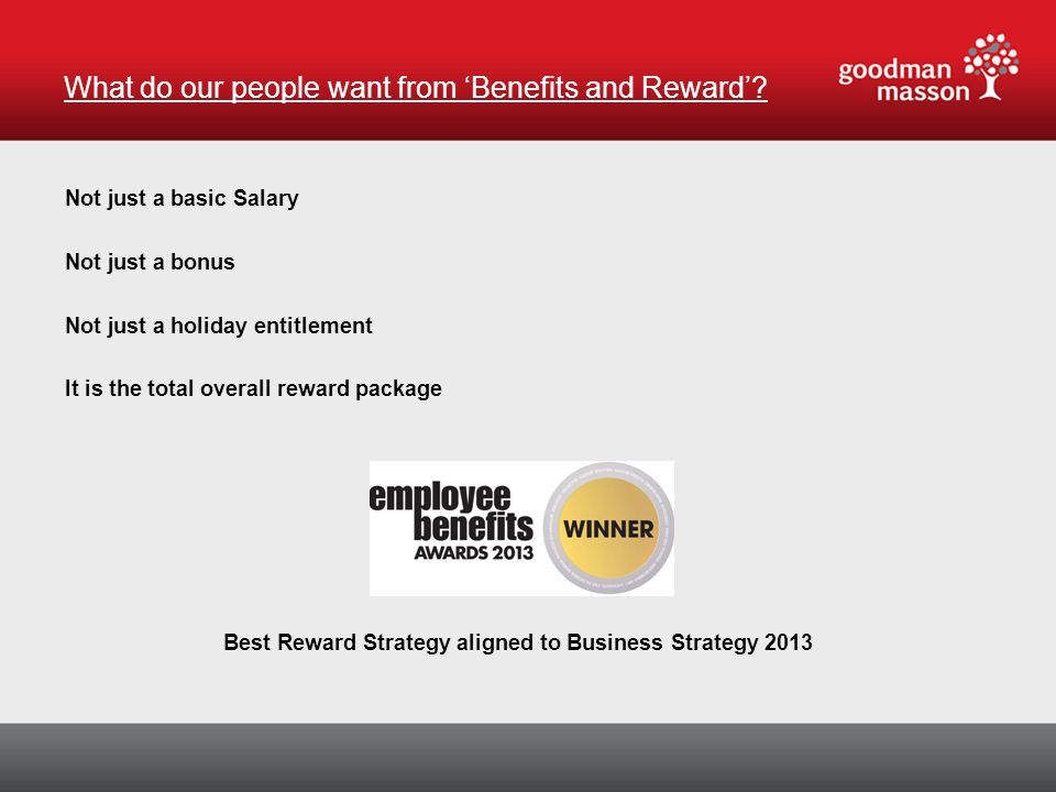Not just a basic Salary Not just a bonus Not just a holiday entitlement It is the total overall reward package Best Reward Strategy aligned to Business Strategy 2013