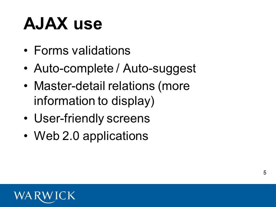 16 AJAX Examples & Tutorials http://www.w3schools.com/Ajax/ http://www.ajaxtutorial.net/ http://www.tizag.com/ajaxTutorial/ http://java.sun.com/javaee/javaserverfac es/ajax/tutorial.jsphttp://java.sun.com/javaee/javaserverfac es/ajax/tutorial.jsp