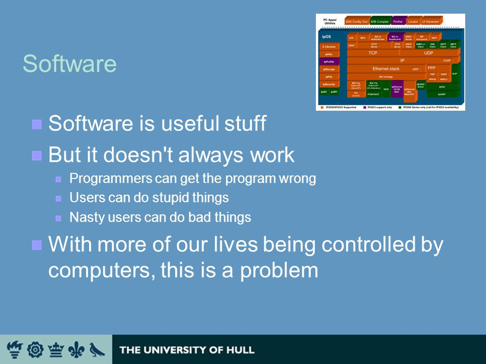 Software Software is useful stuff But it doesn t always work Programmers can get the program wrong Users can do stupid things Nasty users can do bad things With more of our lives being controlled by computers, this is a problem