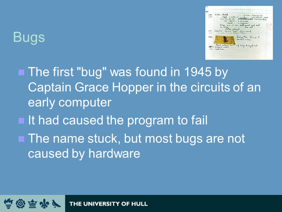 Bugs The first