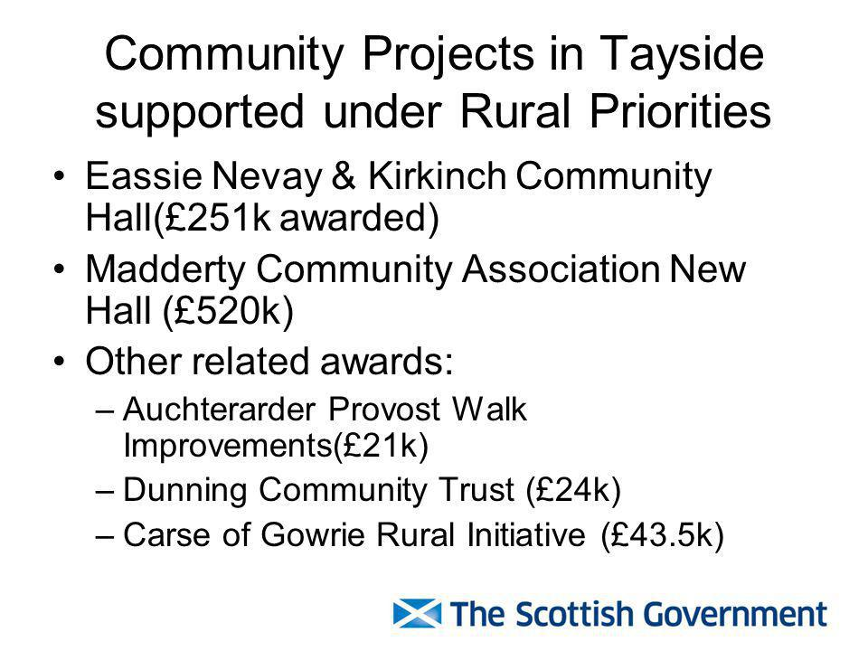 Community Projects in Tayside supported under Rural Priorities Eassie Nevay & Kirkinch Community Hall(£251k awarded) Madderty Community Association New Hall (£520k) Other related awards: –Auchterarder Provost Walk Improvements(£21k) –Dunning Community Trust (£24k) –Carse of Gowrie Rural Initiative (£43.5k)