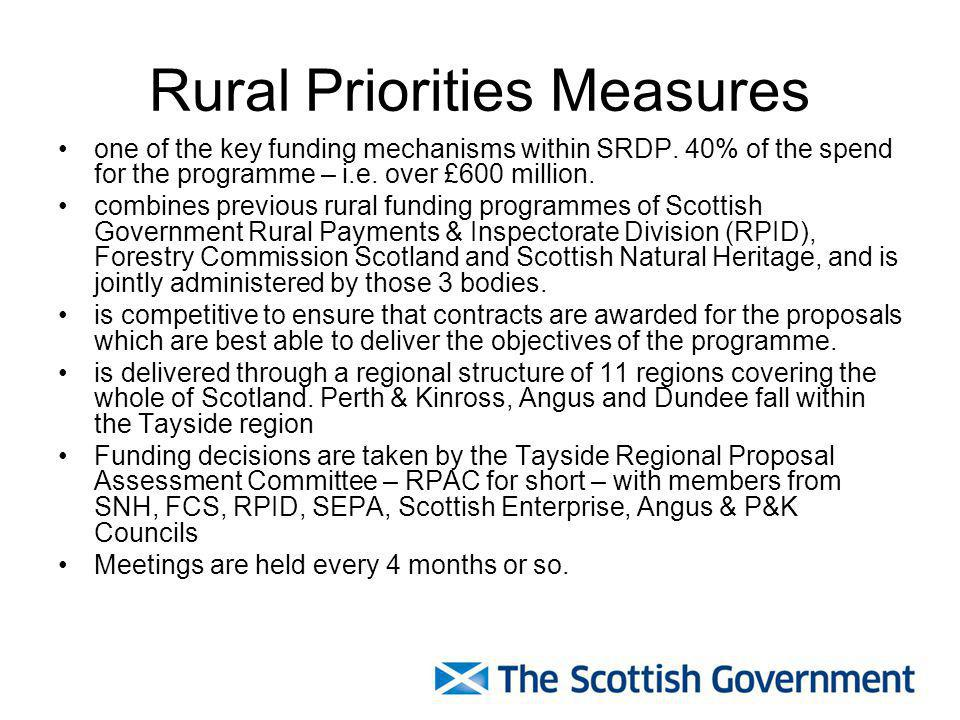 Rural Priorities / LEADER There are overlaps between Rural Priorities and other elements of the SRDP, including LEADER.
