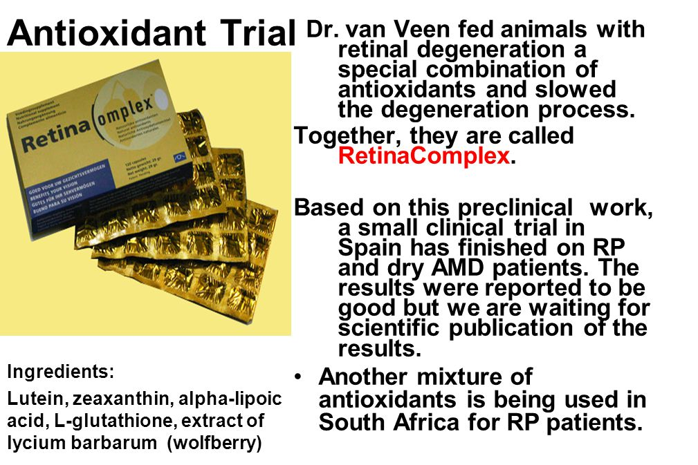 Antioxidant Trial Dr. van Veen fed animals with retinal degeneration a special combination of antioxidants and slowed the degeneration process. Togeth