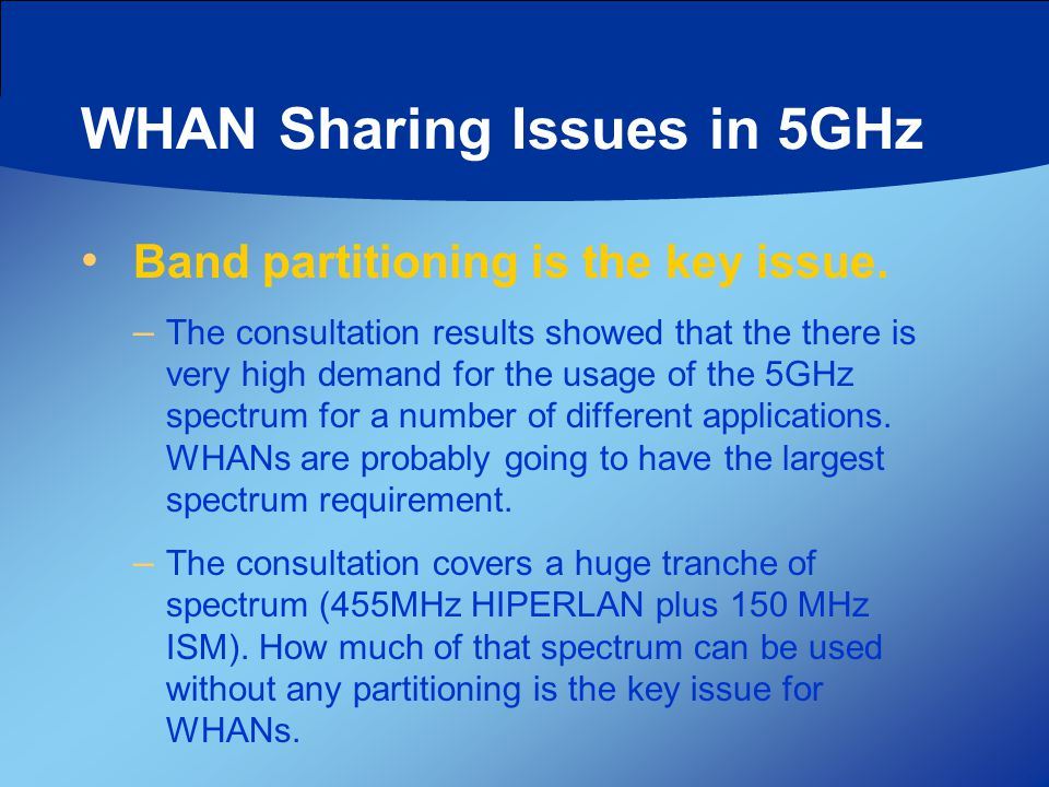 WHAN Sharing Issues in 5GHz Band partitioning is the key issue. – The consultation results showed that the there is very high demand for the usage of