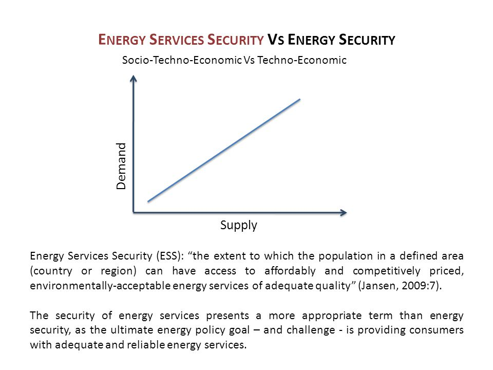E NERGY S ERVICES S ECURITY V S E NERGY S ECURITY Demand Supply Energy Services Security (ESS): the extent to which the population in a defined area (country or region) can have access to affordably and competitively priced, environmentally-acceptable energy services of adequate quality (Jansen, 2009:7).
