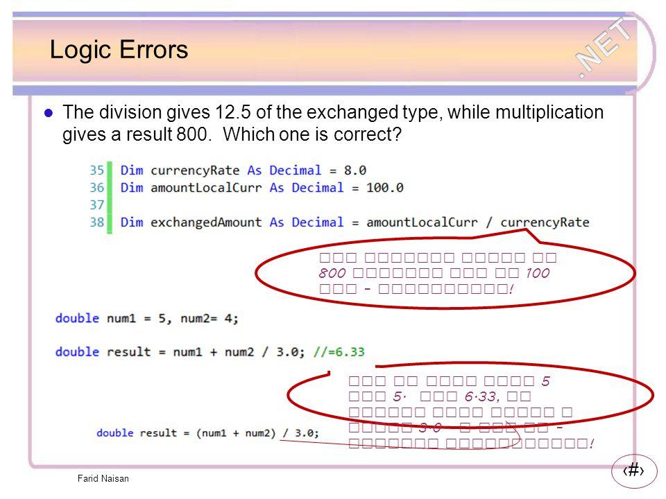 26 Links Exceptions http://msdn.microsoft.com/en-us/library/5b2yeyab(v=VS.100).aspx Custom Exceptions: http://msdn.microsoft.com/en-us/library/87cdya3t(v=vs.80).aspx Farid Naisan