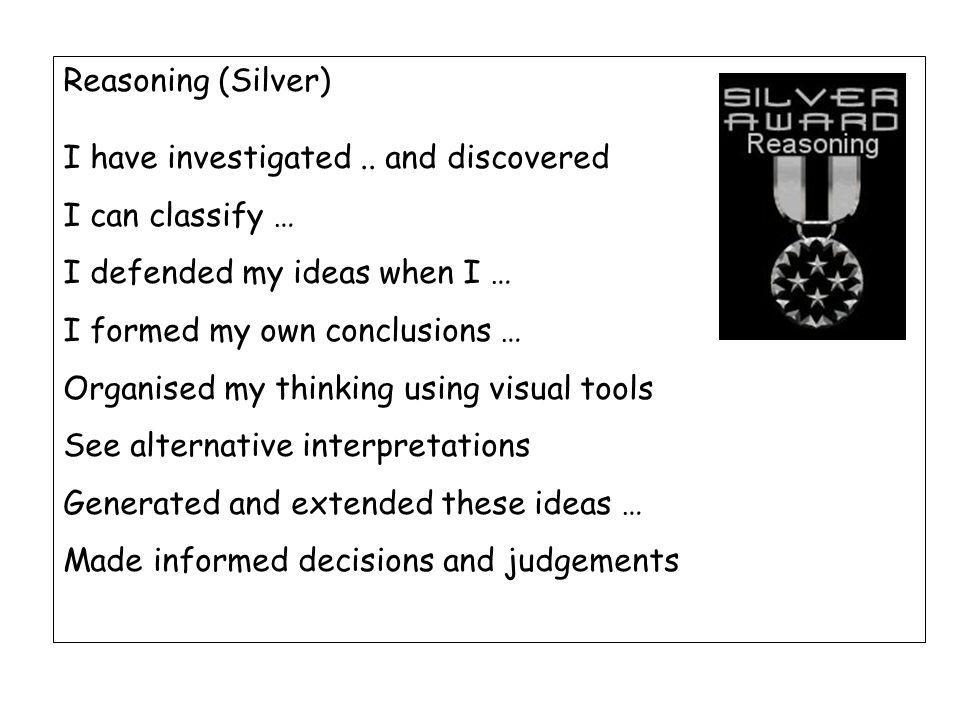 Reasoning (Silver) I have investigated..