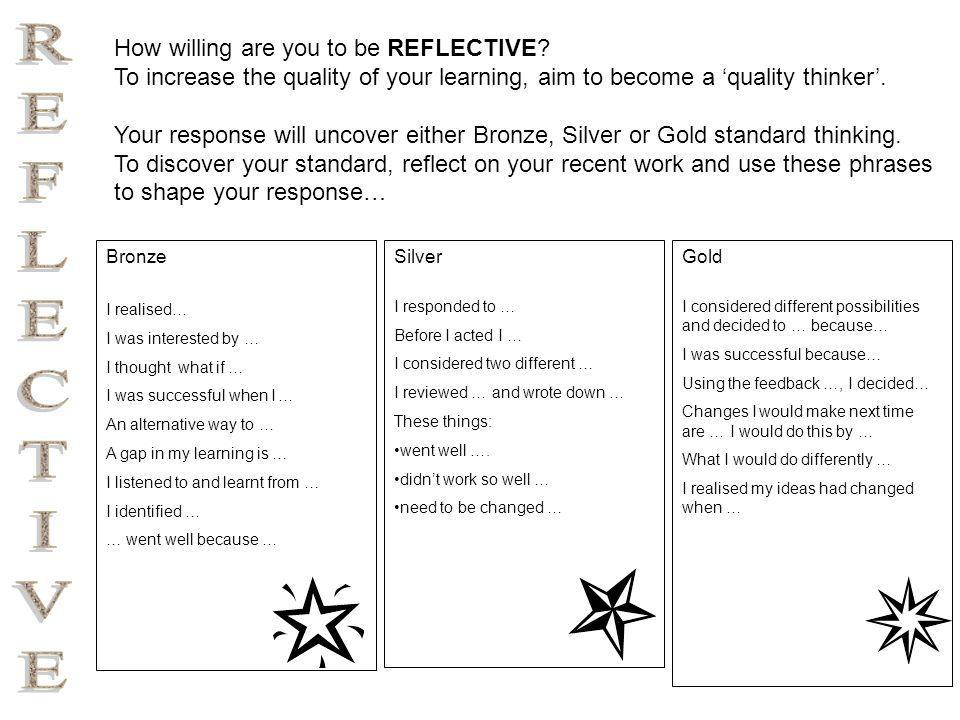 Reflective Thinking (Bronze) I realised… I was interested by … I thought what if … I was successful when I … An alternative way to … A gap in my learning is … I listened to and learnt from … I identified … … went well because …