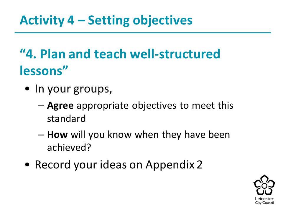 Activity 4 – Setting objectives 4.