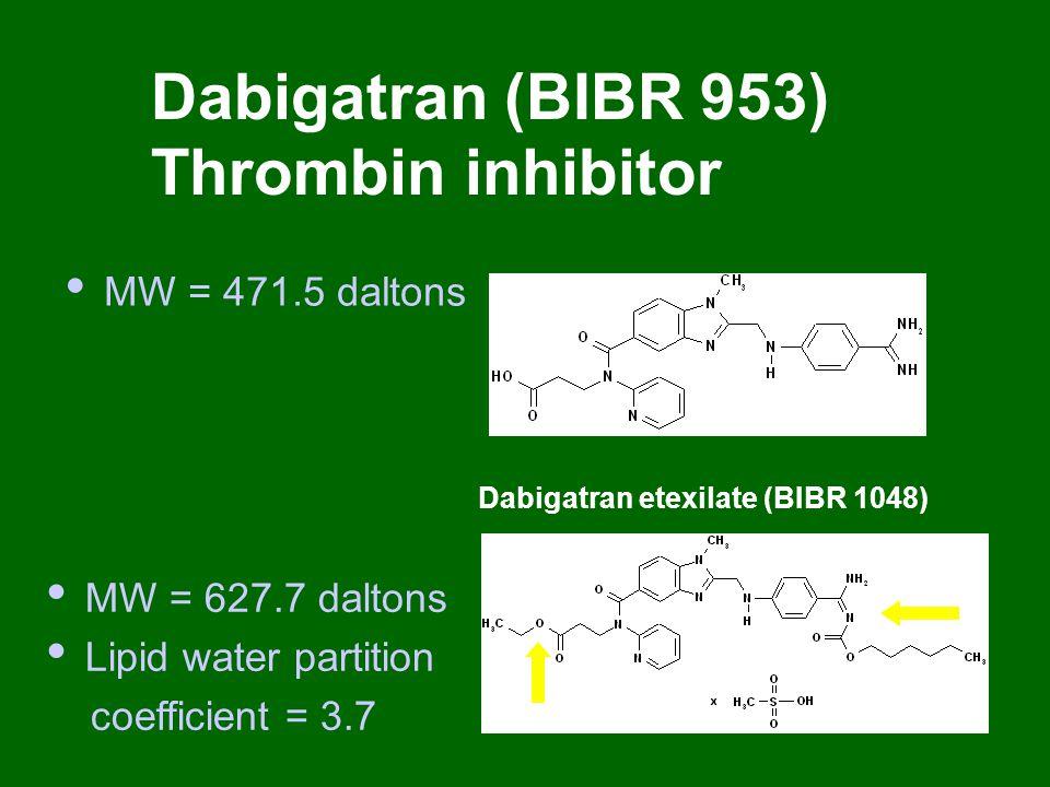 MW = 471.5 daltons Dabigatran (BIBR 953) Thrombin inhibitor Dabigatran etexilate (BIBR 1048) MW = 627.7 daltons Lipid water partition coefficient = 3.