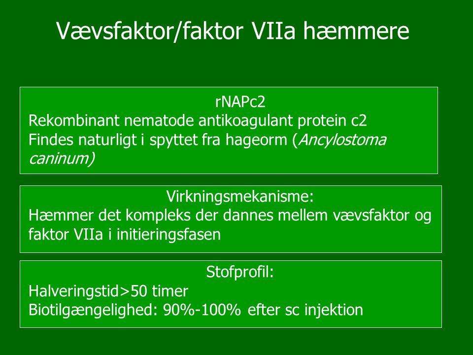 Vævsfaktor/faktor VIIa hæmmere rNAPc2 Rekombinant nematode antikoagulant protein c2 Findes naturligt i spyttet fra hageorm (Ancylostoma caninum) Virkn