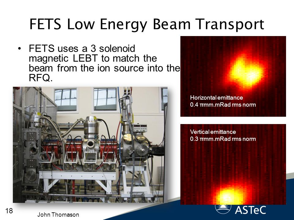 FETS Low Energy Beam Transport FETS uses a 3 solenoid magnetic LEBT to match the beam from the ion source into the RFQ. Vertical emittance 0.3 πmm.mRa