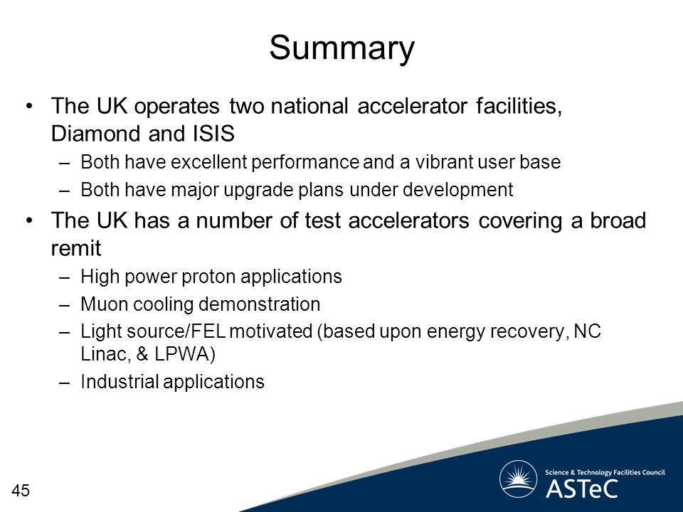 Summary The UK operates two national accelerator facilities, Diamond and ISIS –Both have excellent performance and a vibrant user base –Both have majo