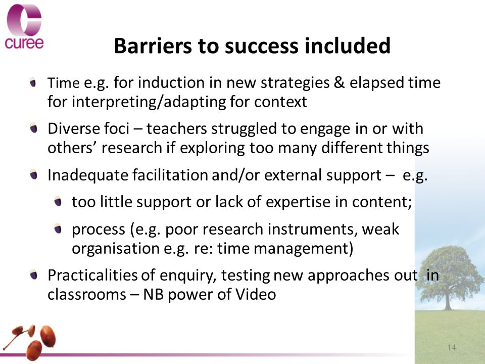 Barriers to success included Time e.g.