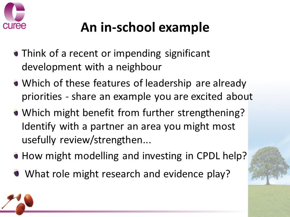 An in-school example Think of a recent or impending significant development with a neighbour Which of these features of leadership are already priorities - share an example you are excited about Which might benefit from further strengthening.