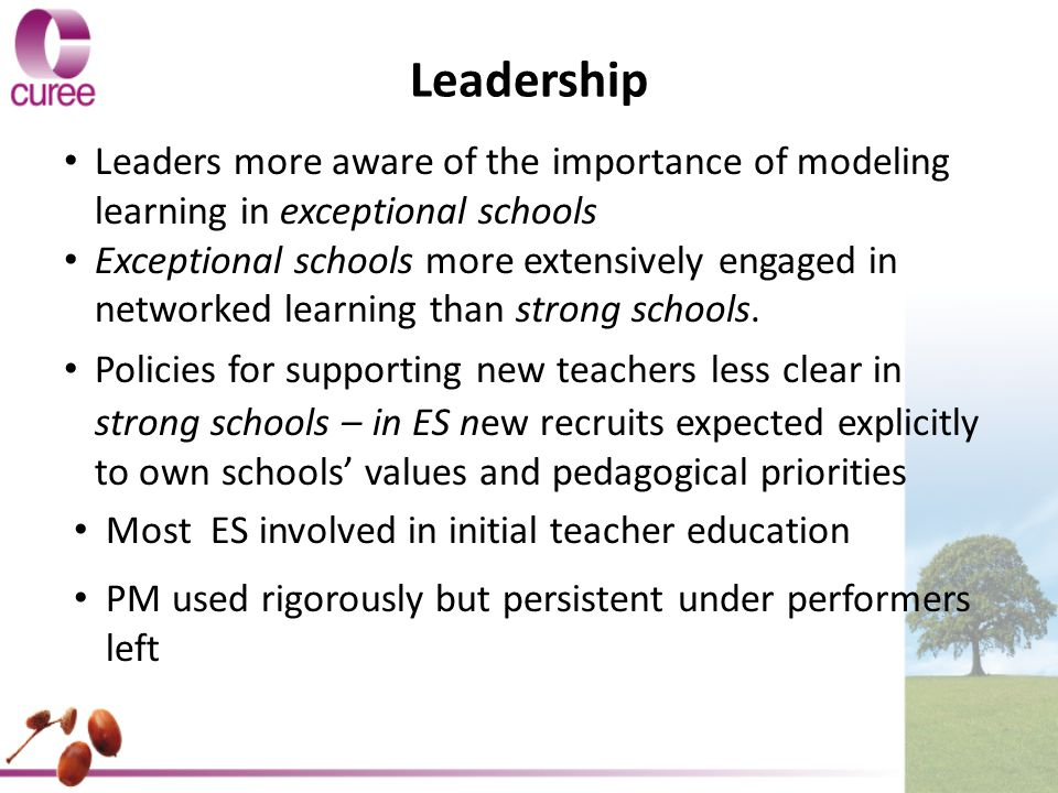 Leadership Leaders more aware of the importance of modeling learning in exceptional schools Exceptional schools more extensively engaged in networked learning than strong schools.
