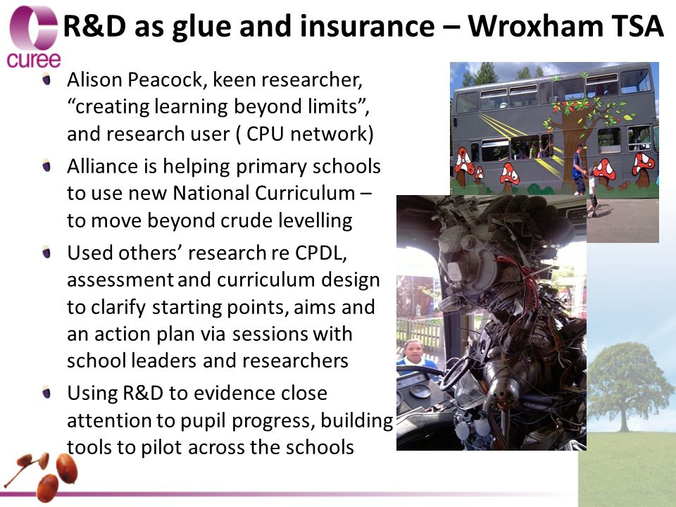 R&D as glue and insurance – Wroxham TSA Alison Peacock, keen researcher, creating learning beyond limits , and research user ( CPU network) Alliance is helping primary schools to use new National Curriculum – to move beyond crude levelling Used others' research re CPDL, assessment and curriculum design to clarify starting points, aims and an action plan via sessions with school leaders and researchers Using R&D to evidence close attention to pupil progress, building tools to pilot across the schools