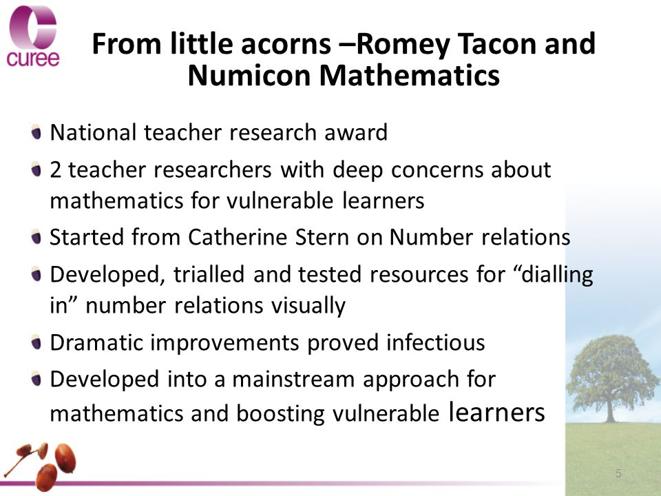 From little acorns –Romey Tacon and Numicon Mathematics National teacher research award 2 teacher researchers with deep concerns about mathematics for vulnerable learners Started from Catherine Stern on Number relations Developed, trialled and tested resources for dialling in number relations visually Dramatic improvements proved infectious Developed into a mainstream approach for mathematics and boosting vulnerable learners 5