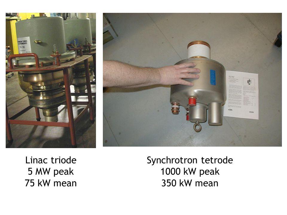 Linac triode 5 MW peak 75 kW mean Synchrotron tetrode 1000 kW peak 350 kW mean