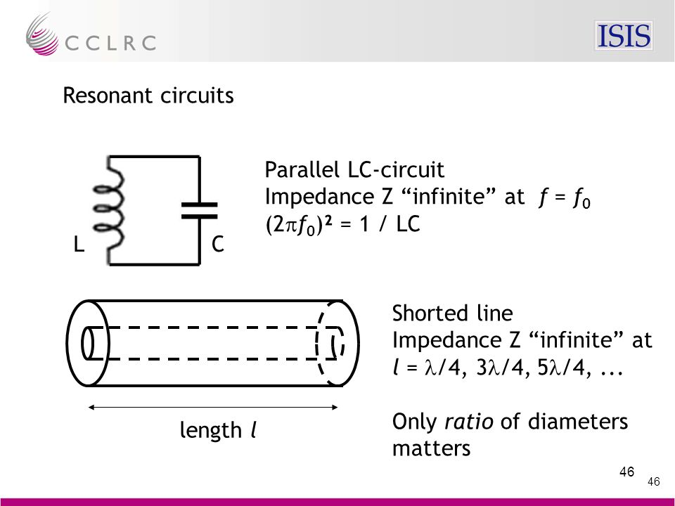 46 Resonant circuits Parallel LC-circuit Impedance Z infinite at f = f 0 (2  f 0 )² = 1 / LC LC length l Shorted line Impedance Z infinite at l = /4, 3 /4, 5 /4,...