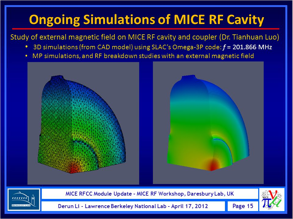 MICE RFCC Module – MICE Schedule Review at RAL, UK Page 15 Derun Li - Lawrence Berkeley National Lab – May 24, 2011 MICE RFCC Module Update – MICE RF Workshop, Daresbury Lab, UK Page 15 Derun Li - Lawrence Berkeley National Lab – April 17, 2012 Ongoing Simulations of MICE RF Cavity Study of external magnetic field on MICE RF cavity and coupler (Dr.