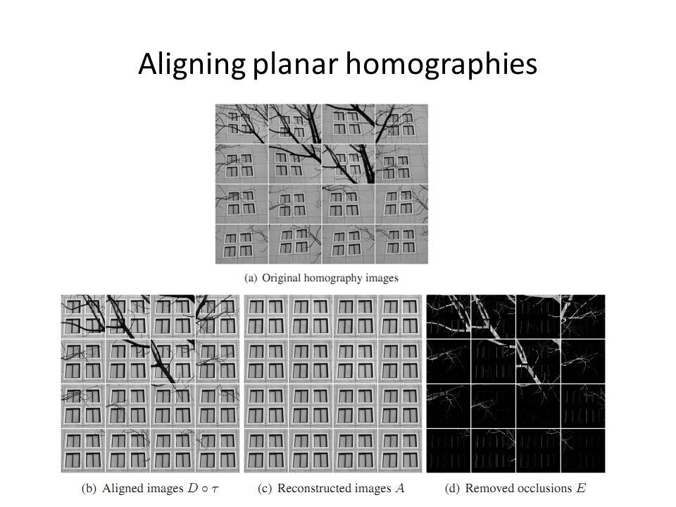 Aligning planar homographies