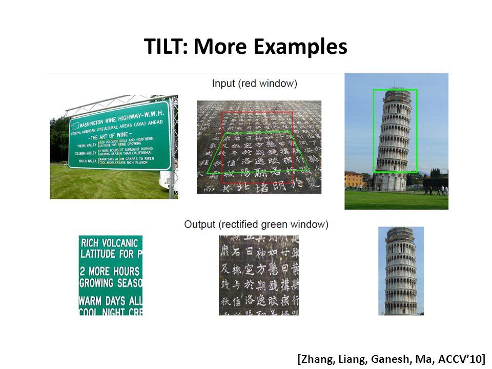 TILT: More Examples [Zhang, Liang, Ganesh, Ma, ACCV'10]