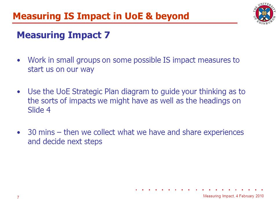 Measuring IS Impact in UoE & beyond Measuring Impact, 4 February 2010 8 Measuring Impact 5