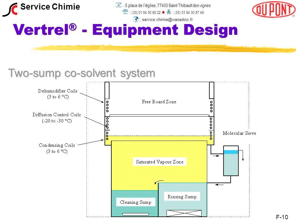 Vertrel ® - Equipment Design Two-sump co-solvent system F-10 Service Chimie  : 5 place de l 'é glise, 77400 Saint Thibault des vignes  : (33) 01 64 30 89 22  : (33) 01 64 30 87 49 : service.chimie@wanadoo.fr