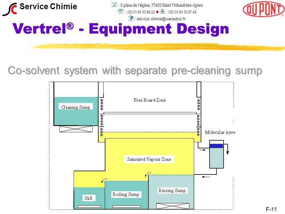 Vertrel ® - Equipment Design Co-solvent system with separate pre-cleaning sump F-11 Service Chimie  : 5 place de l 'é glise, 77400 Saint Thibault des vignes  : (33) 01 64 30 89 22  : (33) 01 64 30 87 49 : service.chimie@wanadoo.fr