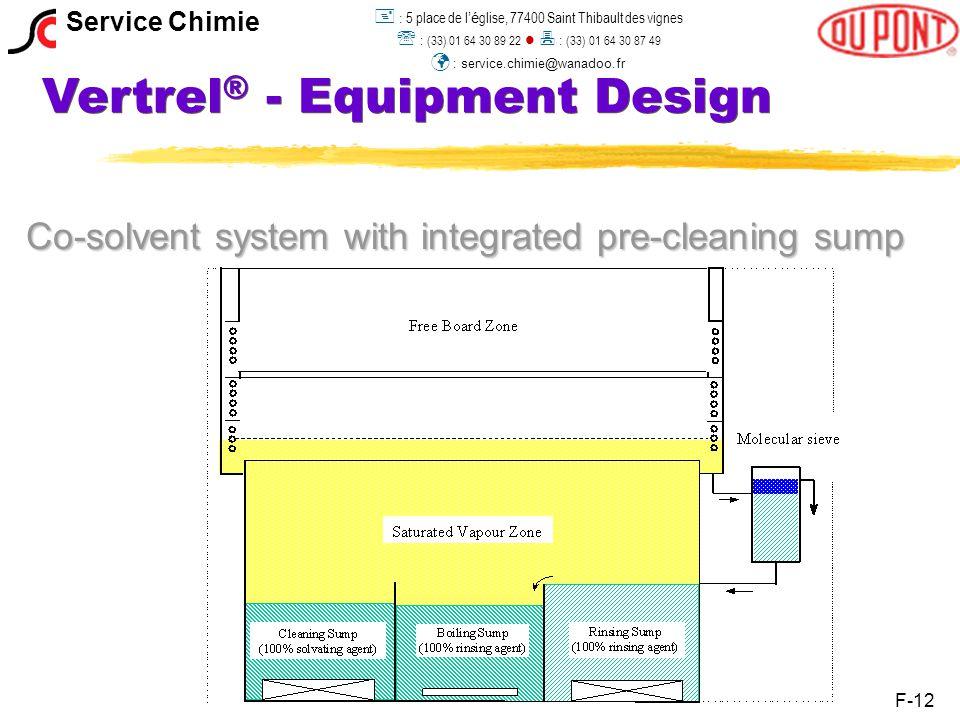 Vertrel ® - Equipment Design Co-solvent system with integrated pre-cleaning sump F-12 Service Chimie  : 5 place de l 'é glise, 77400 Saint Thibault des vignes  : (33) 01 64 30 89 22  : (33) 01 64 30 87 49 : service.chimie@wanadoo.fr