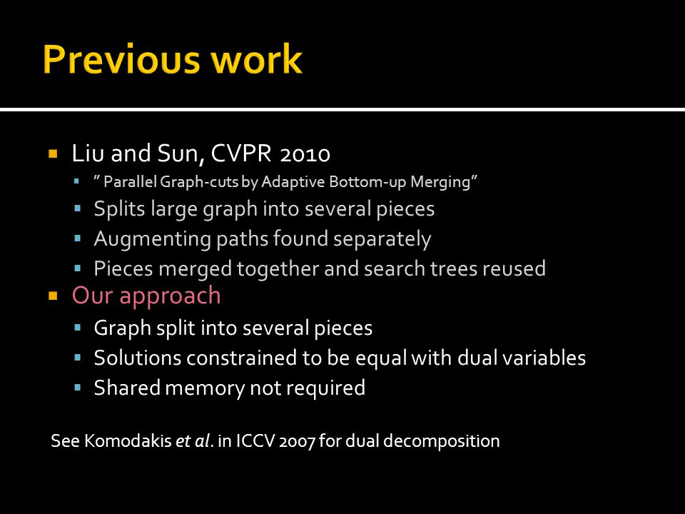  Liu and Sun, CVPR 2010  Parallel Graph-cuts by Adaptive Bottom-up Merging  Splits large graph into several pieces  Augmenting paths found separately  Pieces merged together and search trees reused  Our approach  Graph split into several pieces  Solutions constrained to be equal with dual variables  Shared memory not required See Komodakis et al.