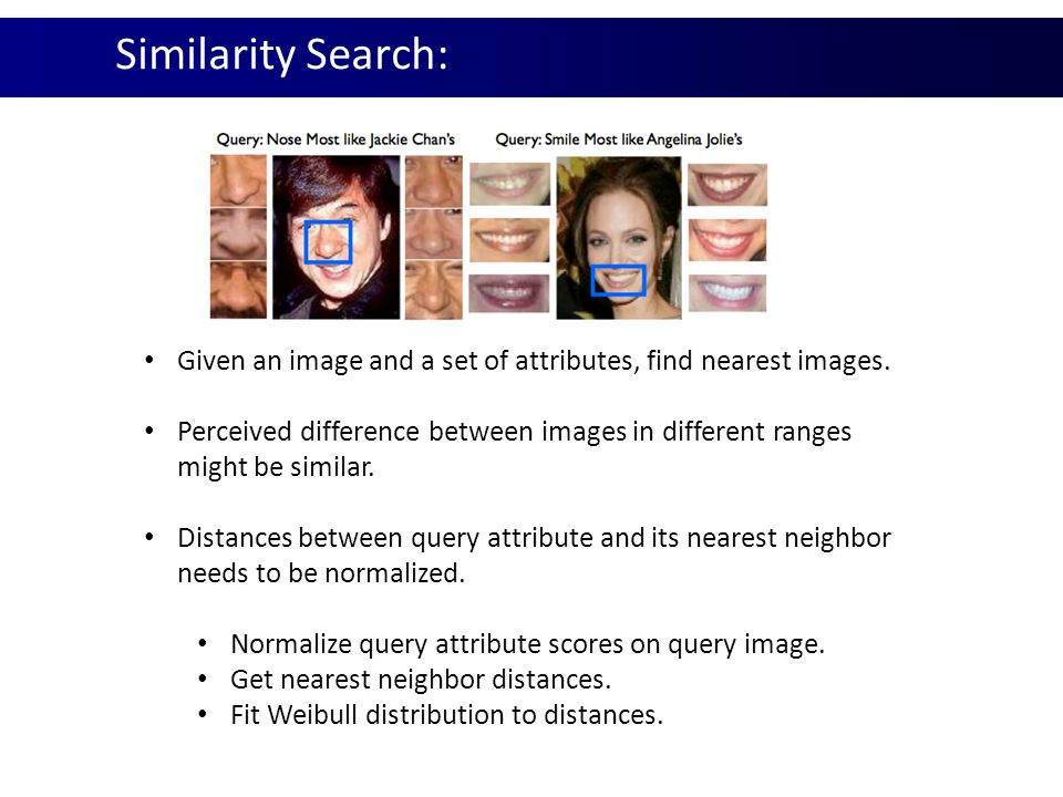 Similarity Search: Given an image and a set of attributes, find nearest images. Perceived difference between images in different ranges might be simil