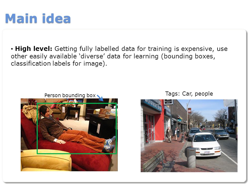 Main idea High level: Getting fully labelled data for training is expensive, use other easily available 'diverse' data for learning (bounding boxes, c