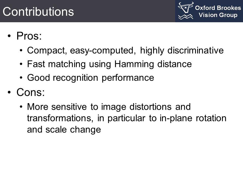 Contributions Pros: Compact, easy-computed, highly discriminative Fast matching using Hamming distance Good recognition performance Cons: More sensiti