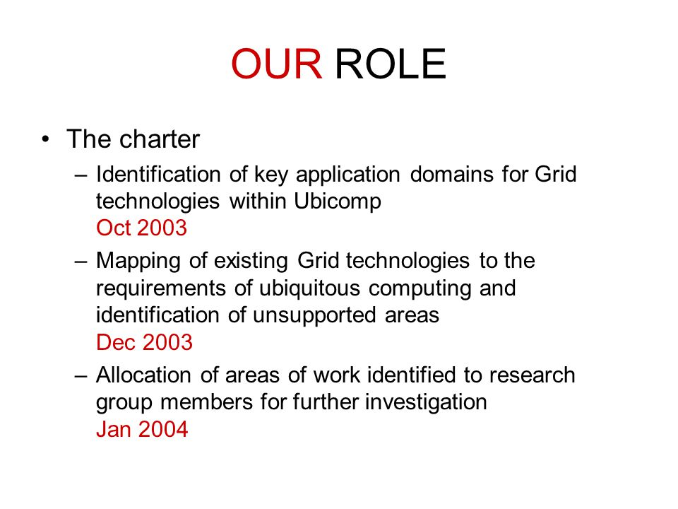 OUR ROLE The charter –Identification of key application domains for Grid technologies within Ubicomp Oct 2003 –Mapping of existing Grid technologies t