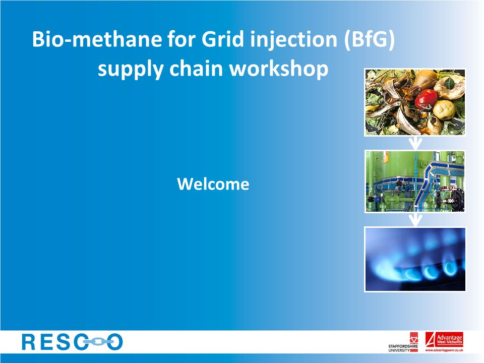 Bio-methane for Grid injection (BfG) supply chain workshop Welcome