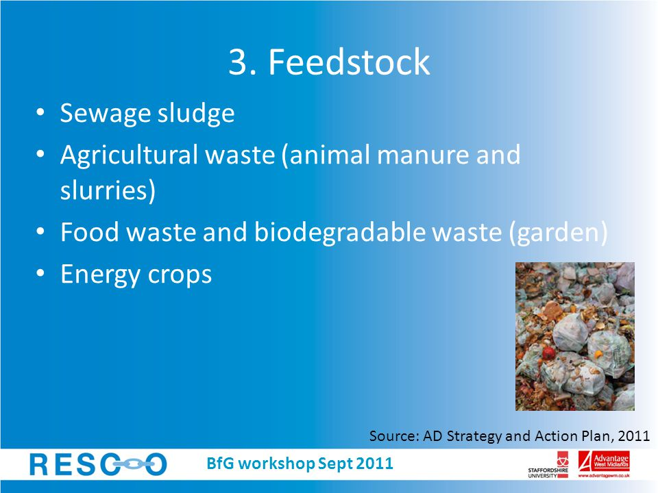 3. Feedstock Sewage sludge Agricultural waste (animal manure and slurries) Food waste and biodegradable waste (garden) Energy crops Source: AD Strateg