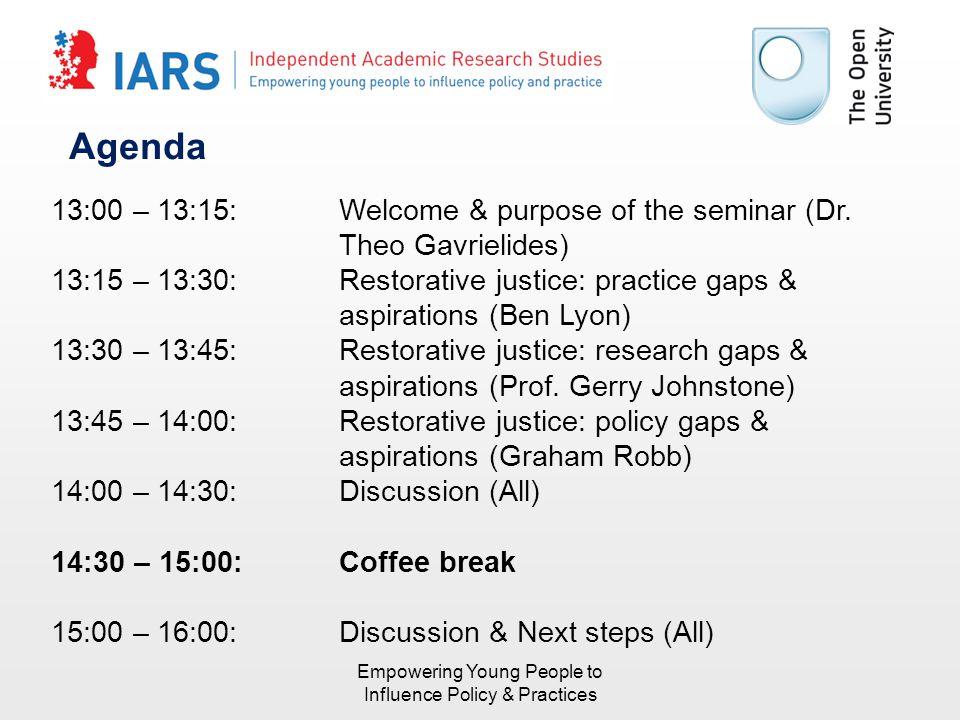 Agenda 13:00 – 13:15:Welcome & purpose of the seminar (Dr.