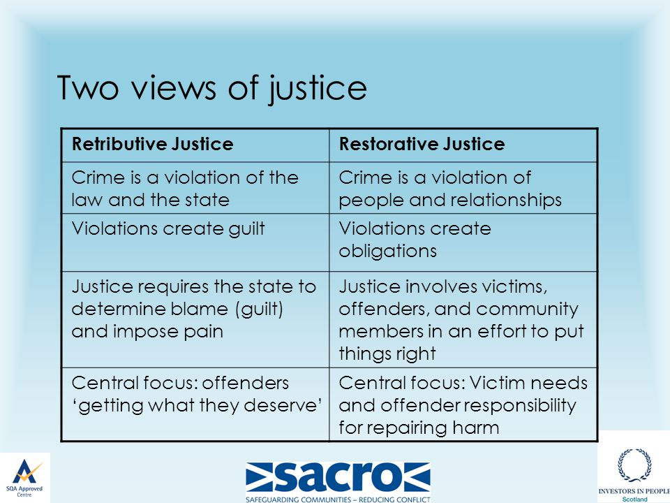Two views of justice Retributive JusticeRestorative Justice Crime is a violation of the law and the state Crime is a violation of people and relationships Violations create guiltViolations create obligations Justice requires the state to determine blame (guilt) and impose pain Justice involves victims, offenders, and community members in an effort to put things right Central focus: offenders 'getting what they deserve' Central focus: Victim needs and offender responsibility for repairing harm