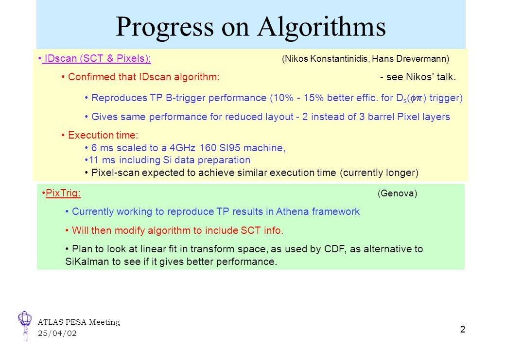 ATLAS PESA Meeting 25/04/02 2 Progress on Algorithms IDscan (SCT & Pixels): (Nikos Konstantinidis, Hans Drevermann) Confirmed that IDscan algorithm: - see Nikos talk.
