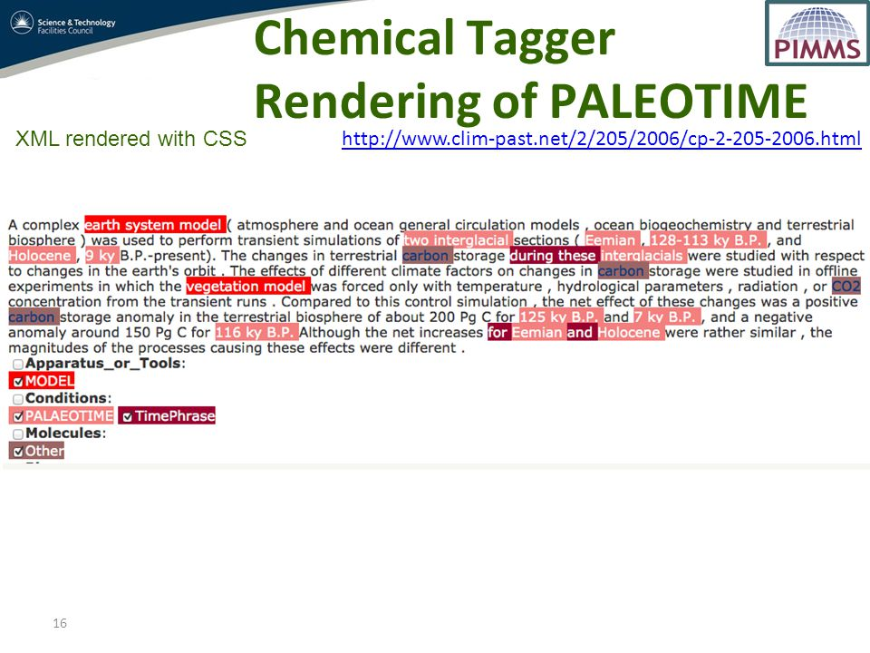 16 XML rendered with CSS Chemical Tagger Rendering of PALEOTIME http://www.clim-past.net/2/205/2006/cp-2-205-2006.html