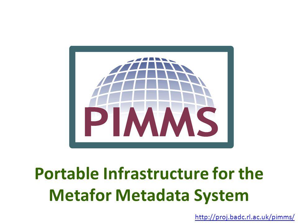 Portable Infrastructure for the Metafor Metadata System http://proj.badc.rl.ac.uk/pimms/