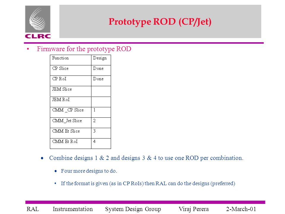 System Design GroupInstrumentationViraj PereraRAL2-March-01 Prototype ROD (CP/Jet) Firmware for the prototype ROD  Combine designs 1 & 2 and designs